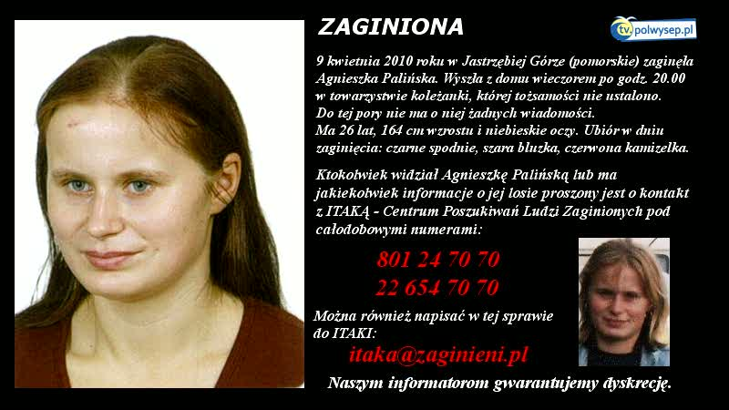 Poszukujemy zaginionej Agnieszki Palińskiej